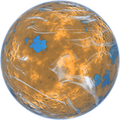 Orange planet with blue oceans